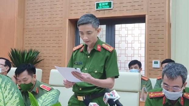 Đại diện C01 công bố thông tin liên quan đến ông Nguyễn Duy Linh. (Nguồn: thanhnien.vn)