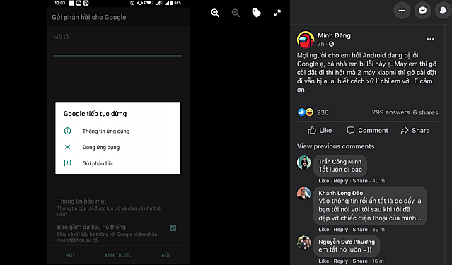 Việc ứng dụng Google đột ngột dừng hoạt động dường như xảy ra diện rộng, không chỉ ảnh hưởng tại Việt Nam. Ảnh chụp màn hình.