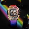 <p> Vỏ máy King Gold có đường kính 42 mm của Spirit Of Big Bang King Gold Rainbow sử dụng chất liệu vàng 18K, hoàn thiện bằng những đường xước mờ (satin-finish). Ngoài ra, nó còn được trang bị 166 viên đá quý xếp theo dải màu cầu vồng. Sản phẩm mang bộ máy Chronograph Skeleton tự động lên dây cót. Điều này giúp nó có khả năng dự trữ năng lượng 50 giờ. Đồng hồ chống nước 100 m. Ảnh: <em>Hublot.</em></p>
