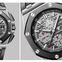 """<p> Royal Oak Offshore là loại đồng hồ bấm giờ tự lên cót thể thao. Vỏ làm bằng chất liệu titanium, đường kính 44 mm. Sản phẩm được trang bị mặt số họa tiết """"Megá Taposserie"""" màu xám. Khả năng dự trữ năng lượng của đồng hồ khoảng 50 giờ. Dây đeo bằng chất liệu cao su kèm khóa titanium. Đồng hồ tích hợp khả năng chống nước 100 m. Ảnh: <em>Audemars Piguet.</em></p>"""