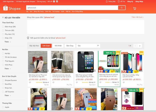 Nhiều gian hàng iPhone xách tay trên Shopee bị xóa bỏ