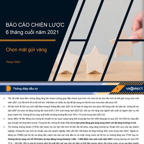 VNDirect: Báo cáo chiến lược 6 tháng cuối năm - Chọn mặt gửi vàng
