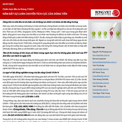 VDSC: Chiến lược đầu tư tháng 7 - Nắm bắt sự luân chuyển tích cực của dòng tiền