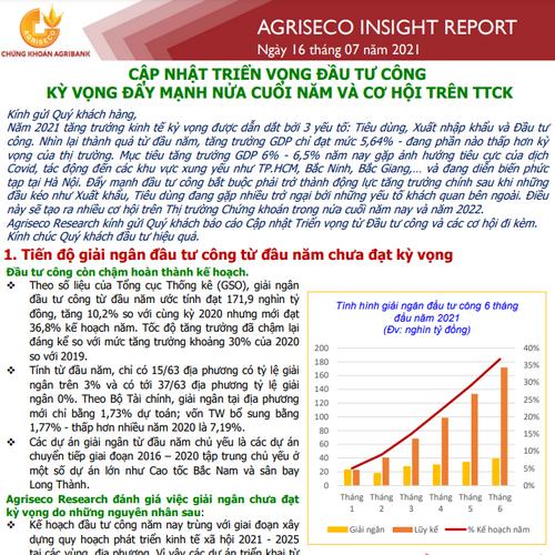 Agriseco: Triển vọng đầu tư công - Kỳ vọng đẩy mạnh nửa cuối năm và cơ hội trên TTCK