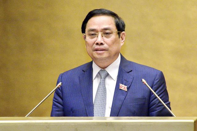 Thủ tướng Phạm Minh Chính trình Quốc hội về cơ cấu tổ chức của Chính phủ nhiệm kỳ 2021 - 2026.