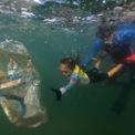 """<p> Nina Gomes, 4 tuổi, đang nhặt rác dưới biển cùng với cha là Ricardo Gomes tại bãi biển Praia Vermelha ở Rio de Janeiro, Brazil. Ông Ricardo là một nhà sinh vật học biển và giám đốc tổ chức phi chính phủ Instituto Mar Urbano.</p> <p> """"Cô bé là một người bảo vệ nhỏ của đại dương"""", cha cô nói. Khi được hỏi lý do tại sao cô ấy thu gom rác thải từ biển, cô ấy nói: """"Bởi vì nếu không, cá và rùa chết"""". Ảnh: <em>Reuters</em>.</p>"""