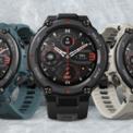 """<p class=""""Normal""""> <strong>Amazfit T-Rex Pro (3,79 triệu đồng)</strong></p> <p class=""""Normal""""> T-Rex Pro là phiên bản nâng cấp của T-Rex ra mắt năm ngoái. Sản phẩm có thiết kế hầm hố tương tự các mẫu đồng hồ thể thao của Garmin. Model này được làm từ polyme nên chống va đập tốt, đồng thời chỉ nặng 56g.</p> <p class=""""Normal""""> Đồng hồ thông minh của Huami sử dụng màn hình Amoled 1,3 inch hỗ trợ tính năng Always On Display. Đây là model có khả năng chống nước tốt nhất hiện nay nhờ chuẩn kháng nước 10 ATM (tương đương độ sâu tối đa 100 mét). T-Rex Pro có thể hiển thị thông báo, nhắc sự kiện, tin nhắn và cuộc gọi đến.</p> <p class=""""Normal""""> Amazfit T-Rex Pro hỗ trợ 100 chế độ tập luyện thể thao khác nhau, như chạy bộ, đạp xe, bơi lội... Model này sử dụng cảm biến BioTracker PPG thế hệ thứ 2 do Huami tự phát triển, cho phép theo dõi nhịp tim liên tục 24/7. Đồng hồ hỗ trợ đầy đủ các tính năng theo dõi sức khỏe phổ biến, như độ bão hòa oxy trong máu, thời gian cũng như chất lượng giấc ngủ, mức độ căng thẳng.</p> <p class=""""Normal""""> Sản phẩm có pin 390 mAh, cho thời gian sử dụng 9 ngày ở cường độ cao. Nếu sử dụng GPS liên tục, pin được 40 giờ. Ở chế độ thông thường, người dùng có thể sử dụng tới 18 ngày. Nếu để chế độ tiết kiệm pin, đồng hồ cho thời gian sử dụng 66 ngày.</p>"""