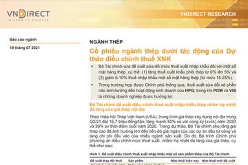 VNDirect: Cổ phiếu ngành thép dưới tác động của dự thảo điều chỉnh thuế xuất nhập khẩu