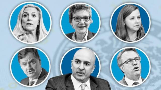 Theo chiều kim đồng hồ, từ trên cùng bên trái là Lael Brainard, Mary Daly, Michelle Bowman, John Williams, Neel Kashkari and Charles Evans © FT montage; Bloomberg, Getty Images