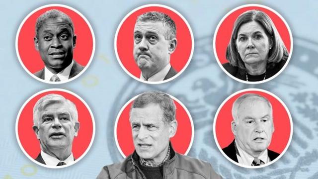 Theo chiều kim đồng hồ, từ trên cùng bên trái là Raphael Bostic, James Bullard, Esther George, Eric Rosengren, Robert Kaplan và Patrick Harker.