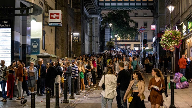 LONDON, ENGLAND - JULY 24: A long queue of club-goers waiting to get in to Heaven nightclub on July 24, 2021 in London, England.