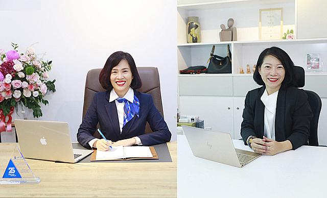 Bà Hoàng Thu Trang và bà Nguyễn Thị Thùy Dương được bổ nhiệm làm Phó tổng Giám đốc NCB. Ảnh: NCB.