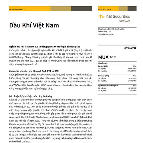 KBSV: Báo cáo ngành dầu khí