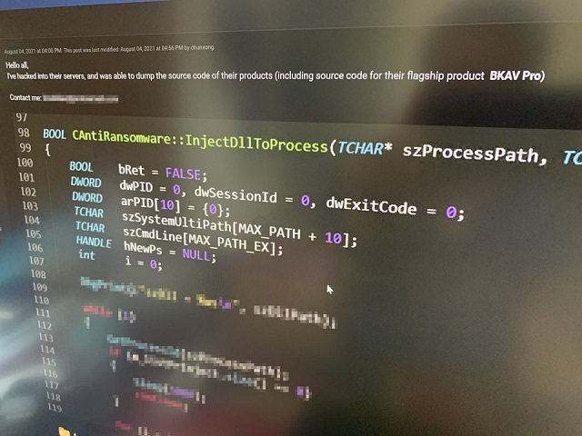 Bkav phản hồi thông tin bị hack, rao bán mã nguồn