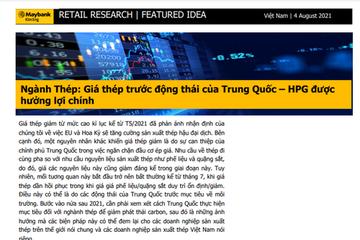 MBKE: Ngành thép - Giá thép trước động thái của Trung Quốc