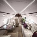 <p> Bên trong, mẫu máy bay có 2 phòng tắm, nhà bếp riêng. Những chiếc ghế sofa có thể gấp lại và biến thành 8 chiếc giường. Không gian nội thất được thiết kế sang trọng với những vật liệu cao cấp từ da và gỗ.</p>