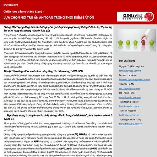 VDSC: Báo cáo chiến lược tháng 8 - Lựa chọn nơi trú ẩn an toàn trong thời điểm bất ổn