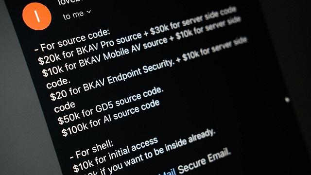 Hacker ra giá 290.000 USD cho dữ liệu của Bkav