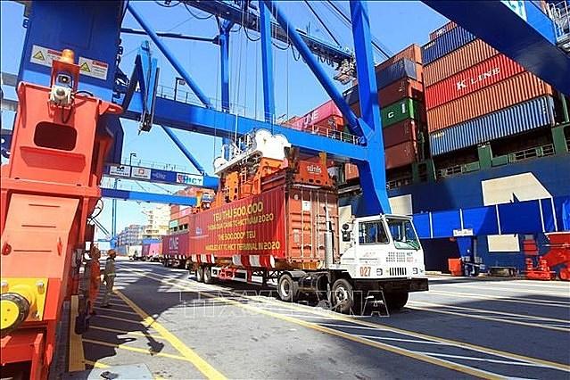 Cảng Container Quốc tế Tân Cảng Hải Phòng. Ảnh: TTXVN