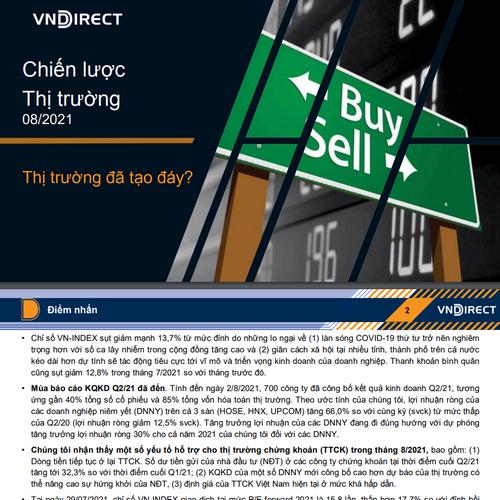 VNDirect: Chiến lược thị trường tháng 8 - Thị trường đã tạo đáy