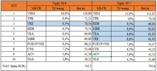 Top 10 khoản đầu tư lớn nhất danh mục PYN Elite Fund.