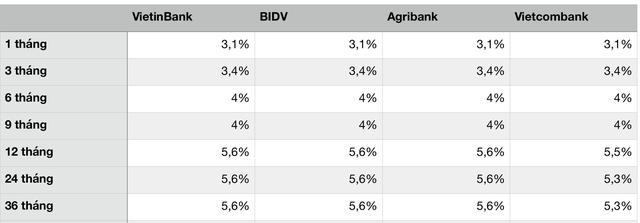 Lãi suất tại 4 ông lớn Agribank, Vietcombank, VietinBank, BIDV đang như thế nào? - Ảnh 1.
