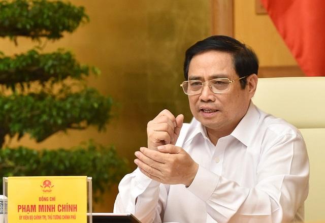 Thủ tướng Phạm Minh Chính lưu ý riêng TP.HCM xét nghiệm toàn thành phố trong thời gian giãn cách xã hội để phát hiện F0, kịp thời ngăn chặn lây lan. Ảnh: VGP.