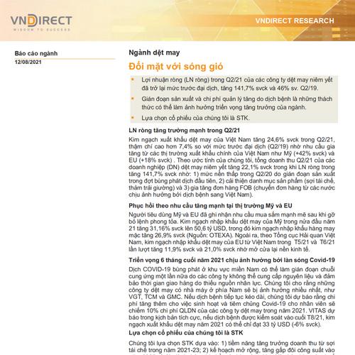 VNDirect: Báo cáo ngành dệt may - Đối mặt với sóng gió