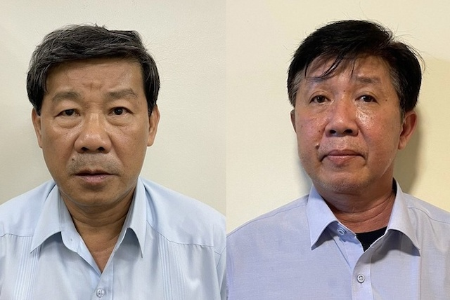 Cựu Chủ tịch Trần Thanh Liêm (trái) và Phó chủ tịch Nguyễn Thanh Trúc.