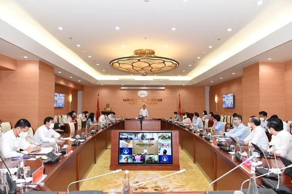 Hội nghị trực tuyến bàn giải pháp tháo gỡ khó khăn cho ngành lúa gạo ĐBSCL do Ngân hàng Nhà nước tổ chức sáng 26/8/2021.