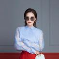 <p> Một bộ đồ đến từ nhà mốt Fendi mang lại cho Triệu Vy vẻ ngoài rực rỡ và sang chảnh. Ảnh: <em>Fendi</em></p>