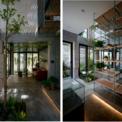 <p> Trái ngược với chất liệu rắn chắc và nặng nề của mặt tiền, cầu thang thép được thiết kế như một yếu tố nhẹ, mỏng manh, lơ lửng giữa ngôi nhà. Bên cạnh vai trò là điểm nhấn quan trọng, kết cấu khung và các bậc thép đục lỗ cho hệ thống cầu thang còn giúp khu vực giếng trời nhỏ trở nên thông thoáng và cho ánh sáng dịu vào các không gian bên dưới.</p>