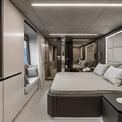 """<p class=""""Normal""""> Khoang master – dành cho Nadal được lắp đặt tivi thả trần phía trên giường ngủ, phòng thay đồ, ghế sofa và ban công riêng. Ở những khu vực khác, có 3 cabin dành cho khách và 2 cabin dành cho thủy thủ đoàn.<span>Ảnh:</span><em style=""""color:rgb(34,34,34);""""><span style=""""color:rgb(0,0,0);"""">Sunreef</span></em></p>"""