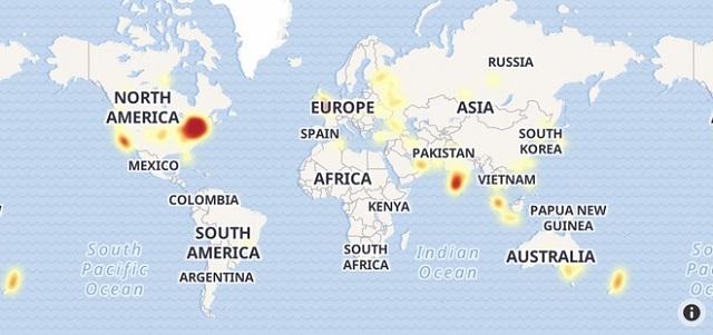 Bản đồ báo cáo lỗi Instagram ngày 2/9 ghi nhận tại nhiều quốc gia. Ảnh: Outage Report.