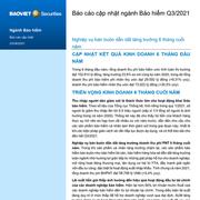 BVSC: Báo cáo cập nhật ngành bảo hiểm quý II - Nghiệp vụ bán buôn dẫn dắt tăng trưởng 6 tháng cuối năm