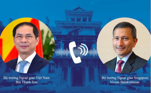 Bộ trưởng Ngoại giao Bùi Thanh Sơn điện đàm với Bộ trưởng Ngoại giao Singapore. Ảnh: BNG