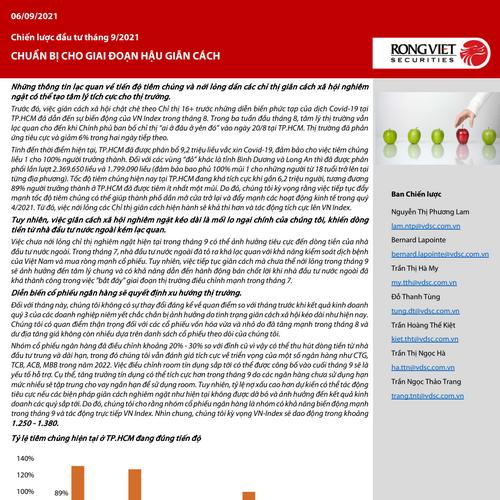 VDSC: Chiến lược đầu tư tháng 9 - Chuẩn bị cho giai đoạn hậu giãn cách