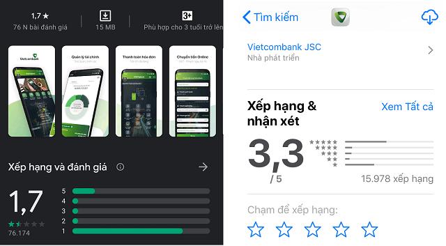 Xếp hạng của ứng dụng ngân hàng điện tử Vietcombank trên CHPlay (trái) và Appstore (phải). )