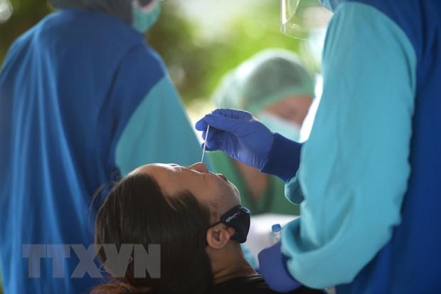 Nhân viên y tế lấy mẫu xét nghiệm Covid-19 cho người dân tại Jakarta, Indonesia ngày 7/9. Ảnh: THX/TTXVN