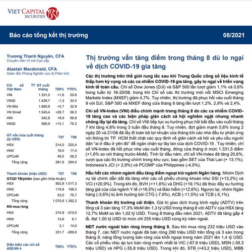 VCSC: Báo cáo tổng kết thị trường tháng 8
