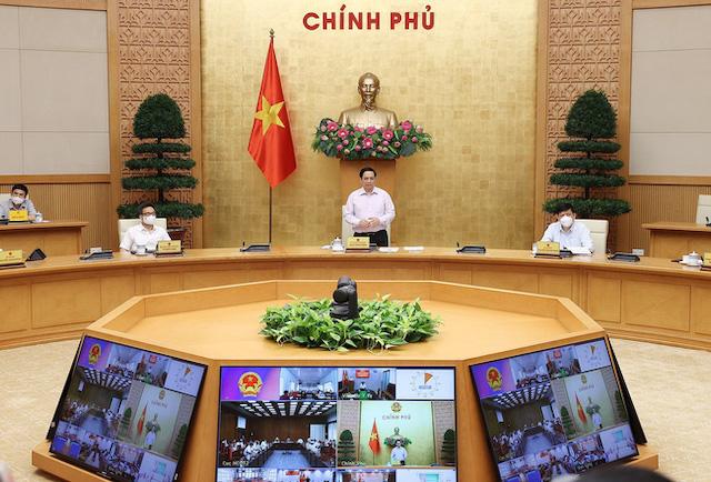 Thủ tướng Phạm Minh Chính chủ trì cuộc họp trực tuyến với lãnh đạo tỉnh Kiên Giang và Tiền Giang.