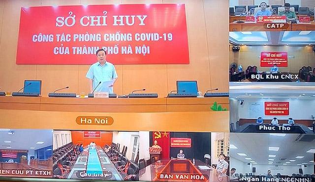 Phó Chủ tịch UBND thành phố Hà Nội Chử Xuân Dũng chủ trì giao ban trực tuyến.