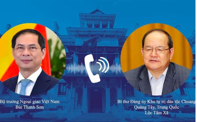 Bộ trưởng Bùi Thanh Sơn và Bí thư Đảng ủy Khu Tự trị dân tộc Choang Quảng Tây Lu Xinshe.