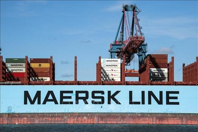 Tàu container của Tập đoàn vận tải biển Maersk tại cảng Gothenburg, Thụy Điển. Ảnh: AFP/TTXVN