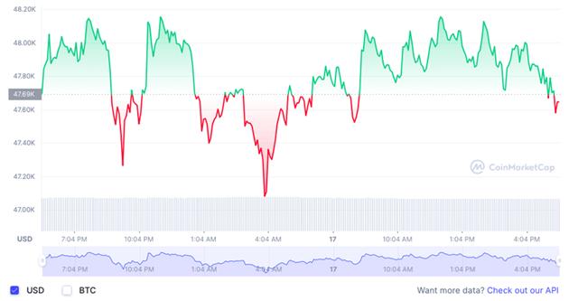 Giá Bitcoin liên tục trồi sụt qua ngưỡng 48.000 USD/đồng trong tròng 24 giờ qua. Ảnh: CoinMarketCap.