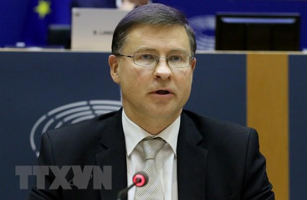Phó Chủ tịch điều hành Ủy ban châu Âu (EC) Valdis Dombrovskis. (Ảnh: AFP/TTXVN)