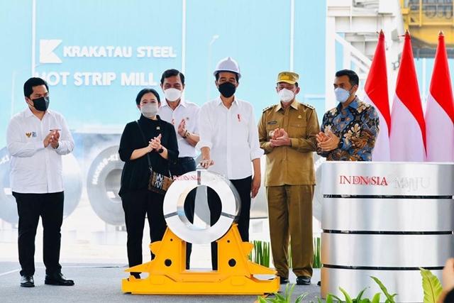 Tổng thống Indonesia Joko Widodo tại lễ khánh thành nhà máy mới của Krakatau Steel. Ảnh:BPMI Setpres.