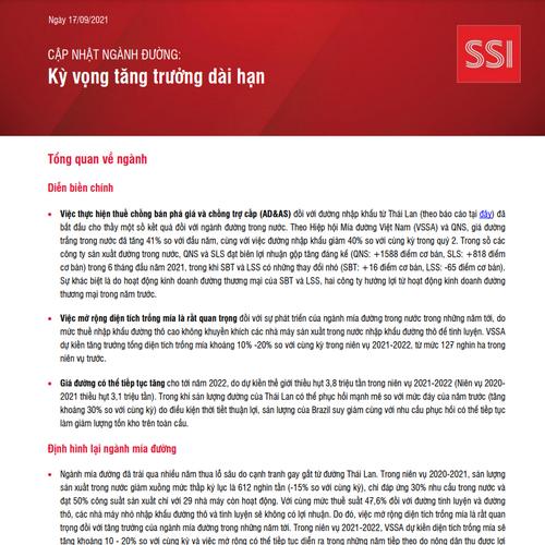 SSI Research: Cập nhật ngành đường - Kỳ vọng tăng trưởng dài hạn