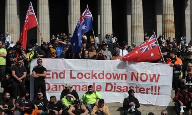 Nhiều người đã tham gia biểu tình để phản đối lệnh phong tỏa ở Melbourne. Ảnh: AFP.