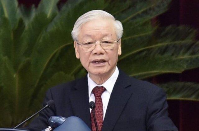 Tổng bí thư Nguyễn Phú Trọng phát biểu tại hội nghị Trung ương 4 (khóa XIII) sáng 4/10.
